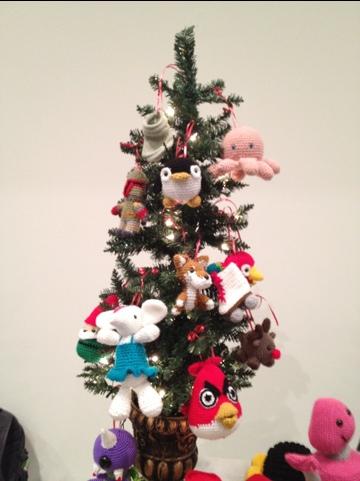crochet decorated christmas tree