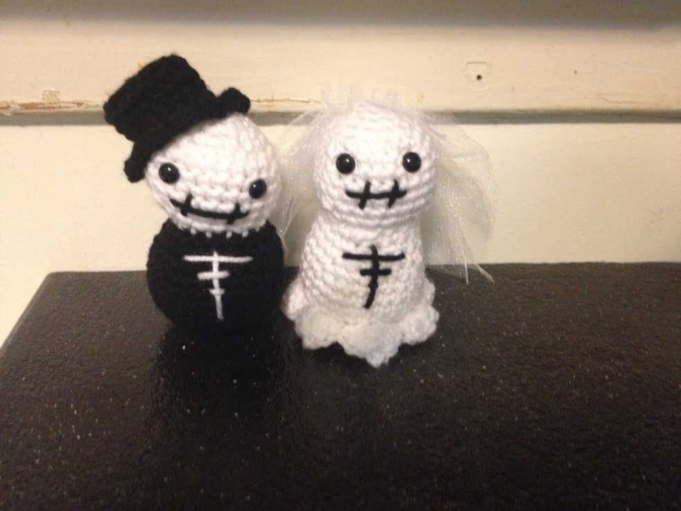 Crocheted Bride and Groom