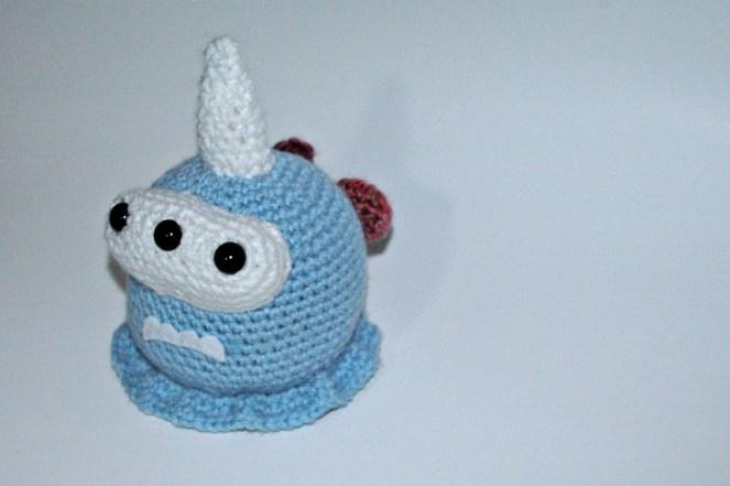 Crocheted 3 eyed monster