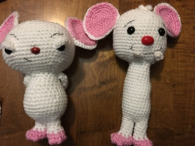 Crocheted Pinky and the Brain
