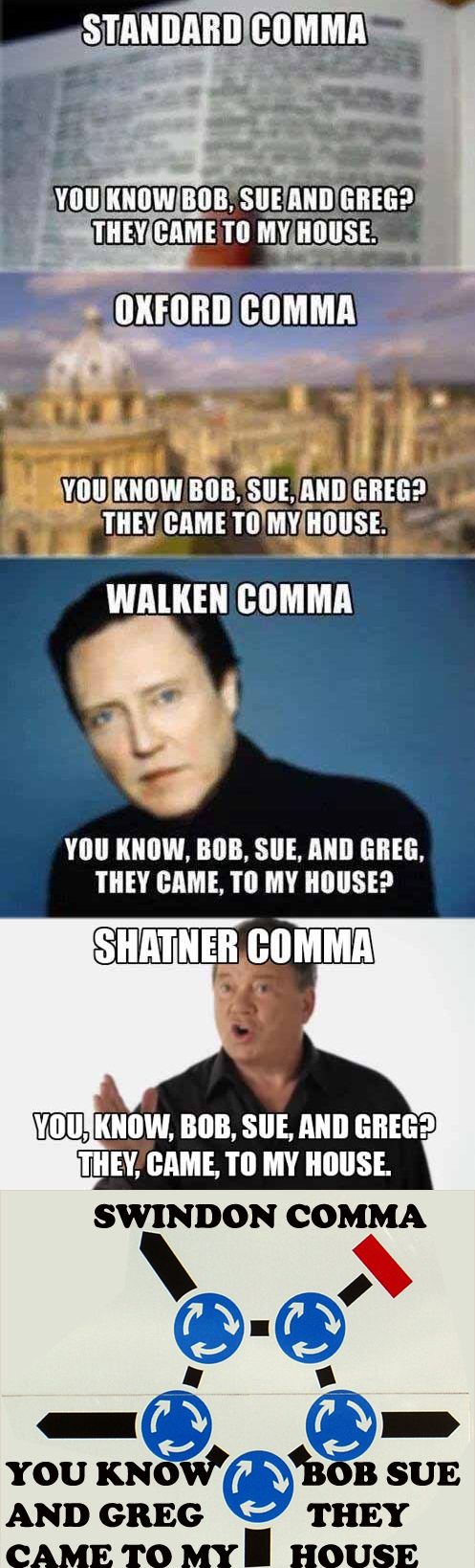 Walken Comma Shatner Comma : walken, comma, shatner, Swindon, Comma, Endless, British, Crawl, Continues...
