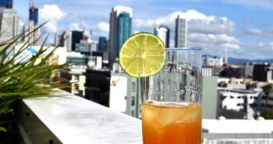 Cocktail with city behind it