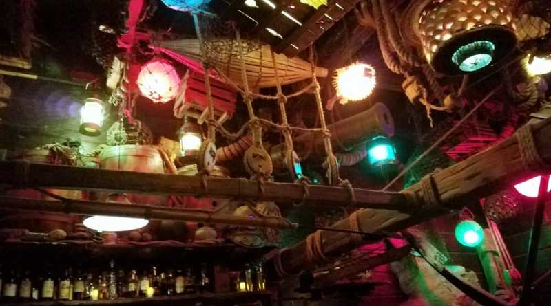 Interior of bar with different color lighting