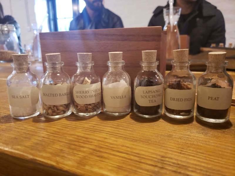 Set of tasting bottles filled with solids