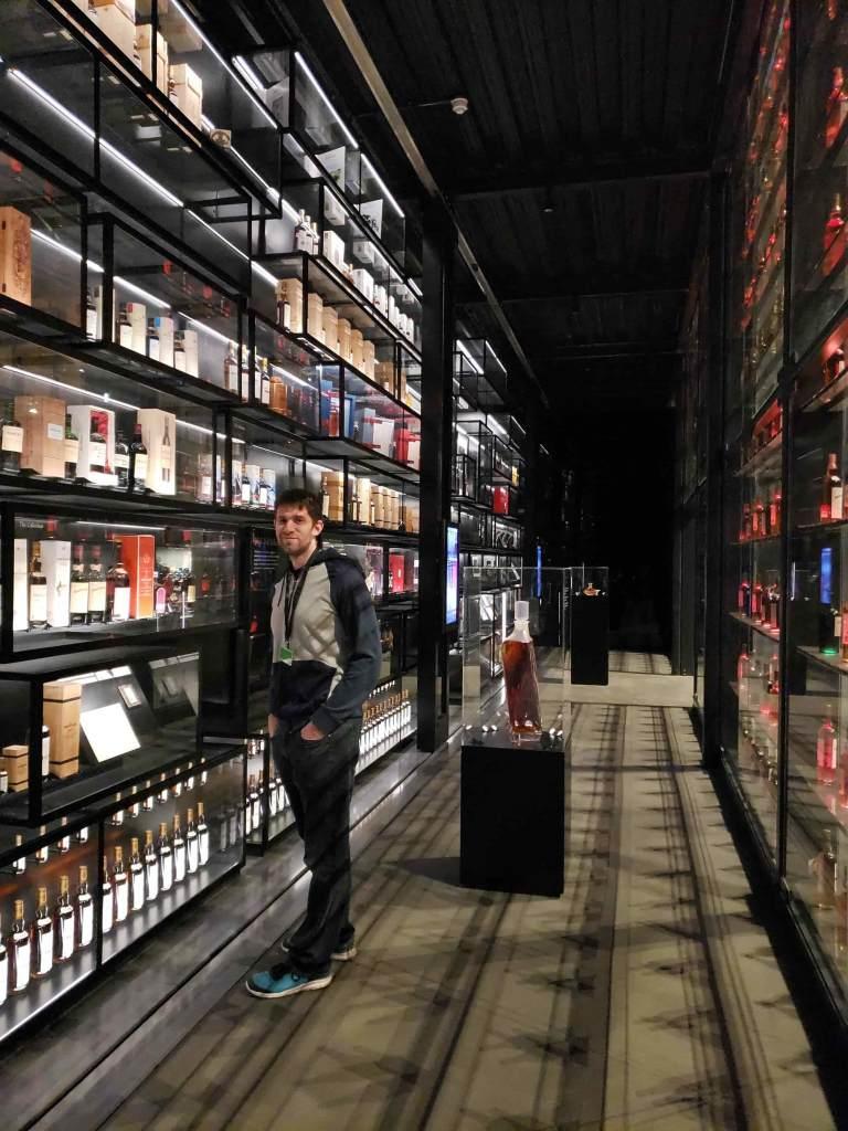 Floor to ceiling bottles of whisky