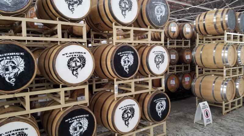 Many whisky barrels with white and black tops
