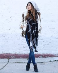 FAUX FUR COAT AND CHECKERED SHAWL - drunk on shoes