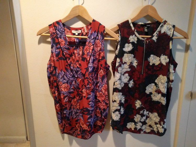 floral blouse side by side