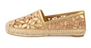 Tori Burch Rhea Cut Out Gold Slip On Espadrille on sale now + 15% cash back at Forzieri