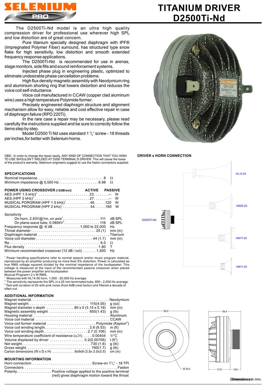Selenium D2500Ti-ND Compression Screw on Titanium Driver