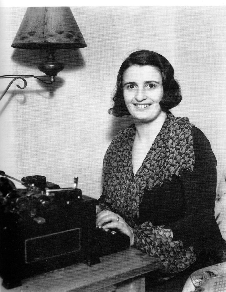 Ayn Rand at her typewriter