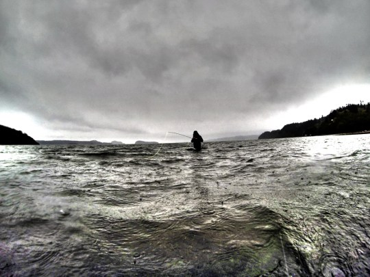 Stormy day on the water fly fishing