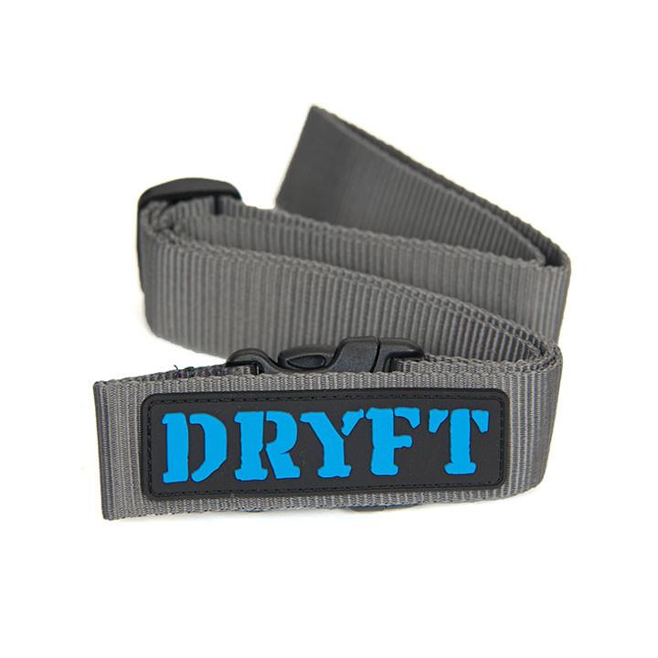 dryft belt - grey with blue logo