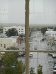 crash, boom, rain...safe inside on a now-rainy day in Marfa