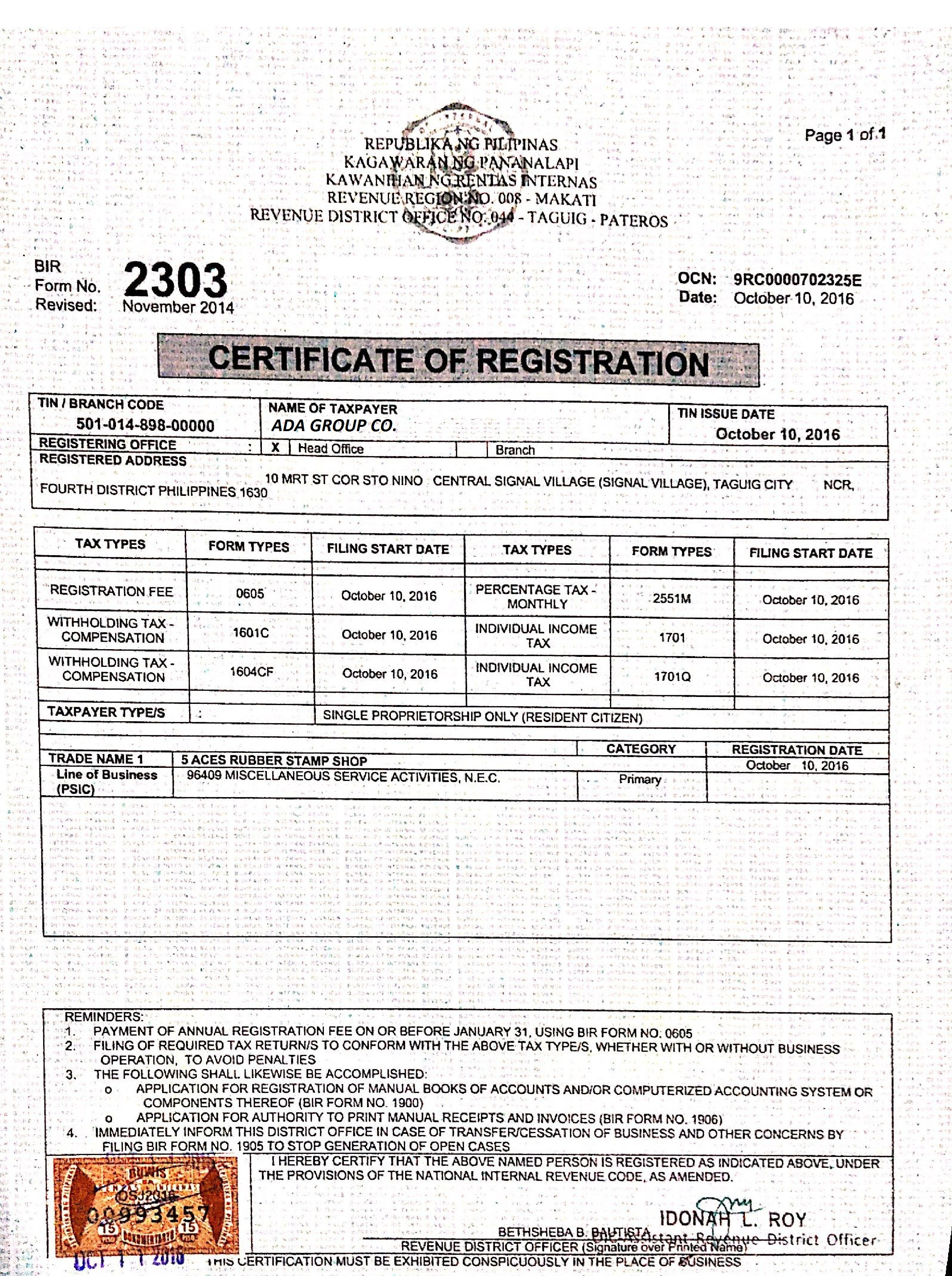 Certificate Of Registration Dry Seal Maker Philippines