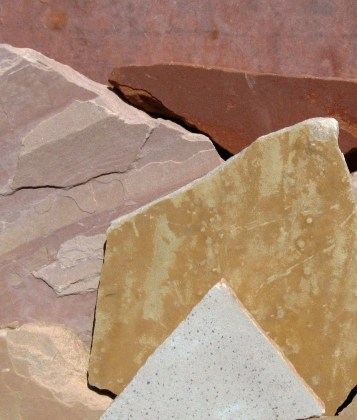 Clockwise -- Rosa, Sedona Red, Buckskin, Oak, Buff, Peach
