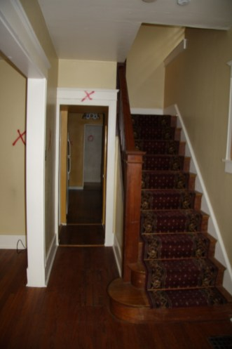 1 Staircase before Demolition (marked areas to be removed)