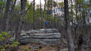 Chelcie hikes in Pilot Mountain State Park, North Carolina