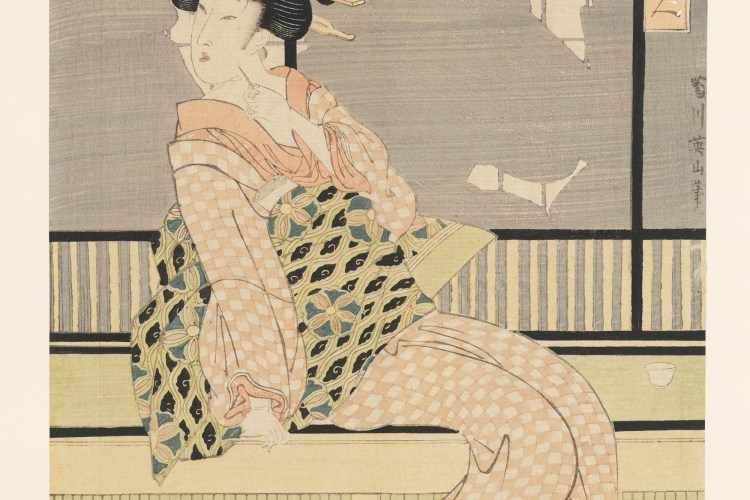 Eizan Kikukawa, Three Fashionable Beauties Cooling Off in the Evening. Woodblock Print, ink and color on paper, circa 1814-1817. Box 2, Folder 9, Japanese Prints Collection, MS.2013.043, John J. Burns Library, Boston College.