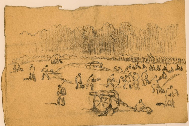 Drawing of a battlefield with a cannon in the foreground