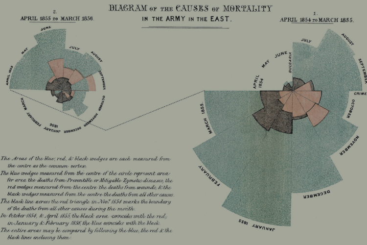 Florence Nightingale 1858 diagram of mortality rates