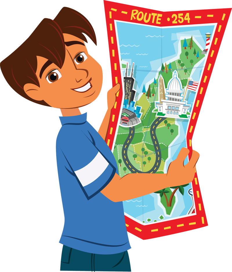 kid with map