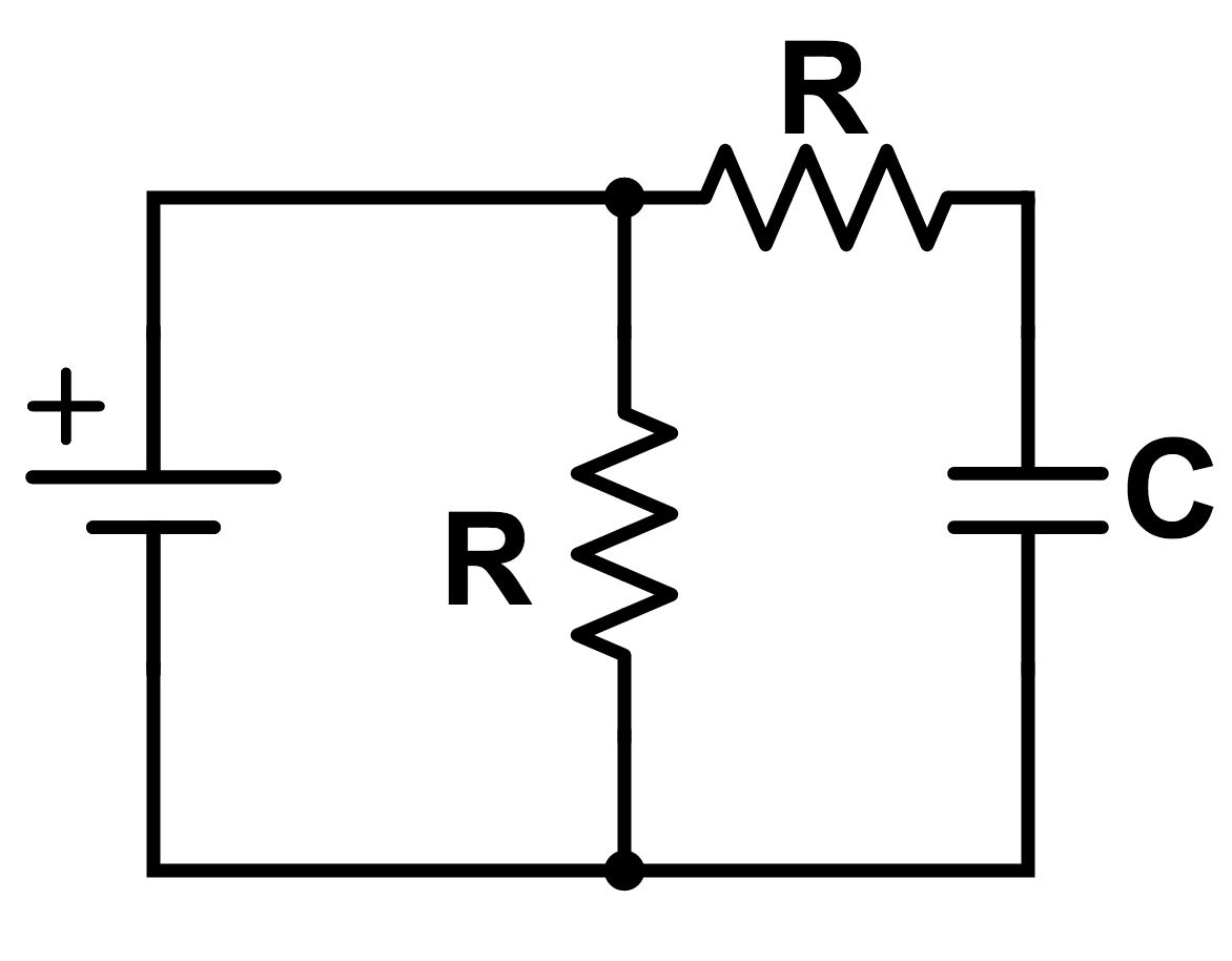 medium resolution of find the resistance of the circuit as seen by the battery after a very long time