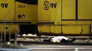 Un cuerpo completamente cubierto con una sábana blanca está en las vías del tranvía, entre dos trenes.