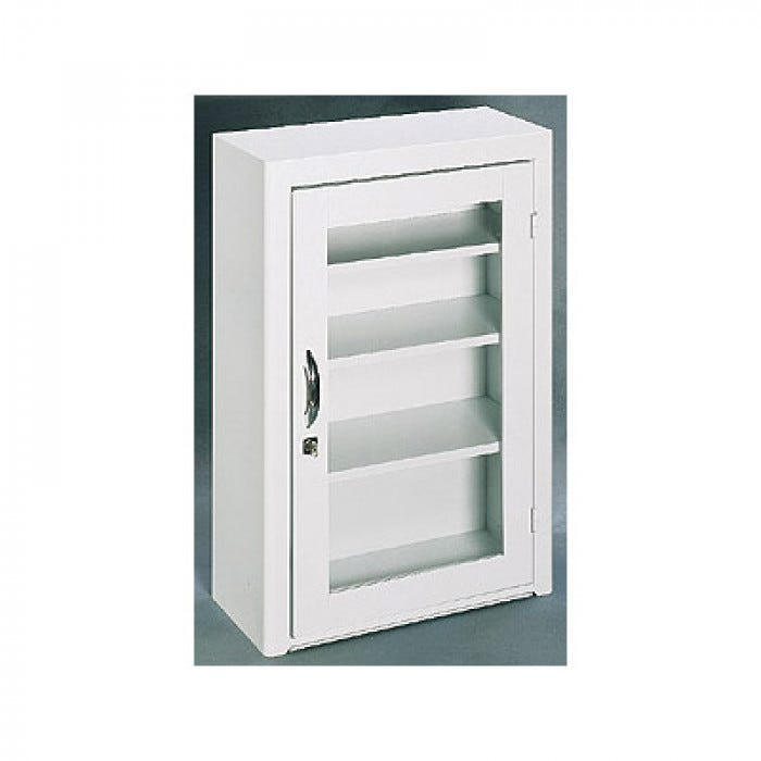 Locked First Aid Wall Cabinet with Plexiglass Window in Door