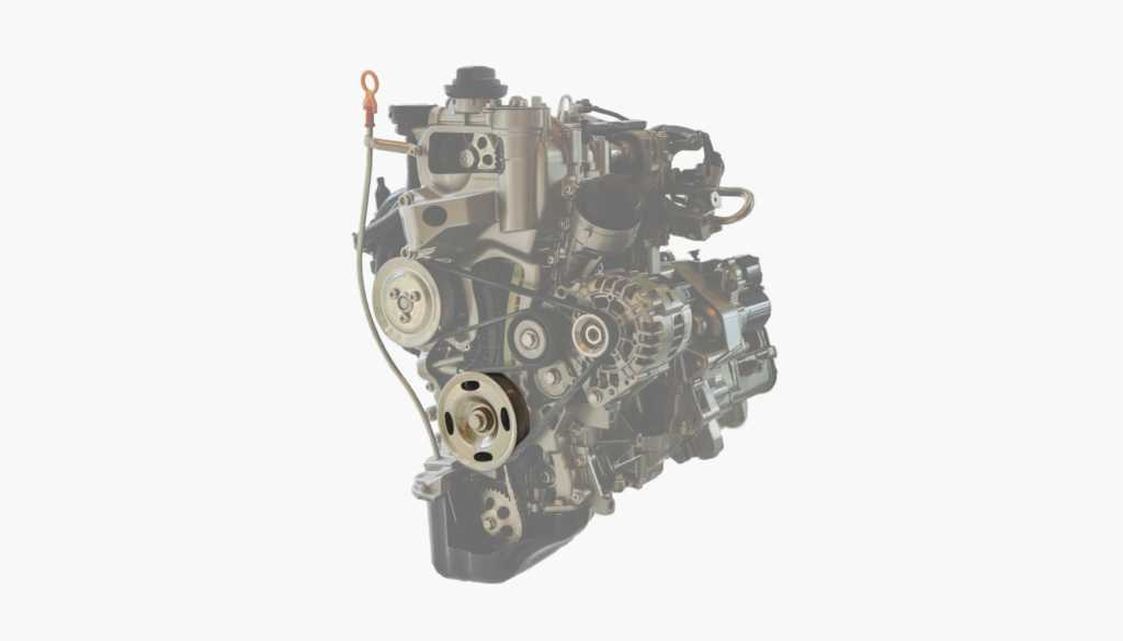 This picture highlights the location of a power steering pump at a car engine.