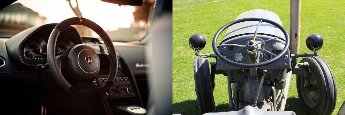 The picture on the left shows a steering wheel angled in a comfortable - upright position while the image on the right is a uncomfortable, horizontally placed steering wheel on a tractor.