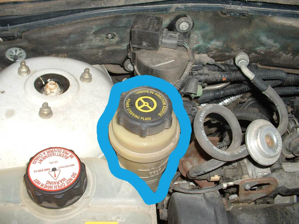 "If you lift your car hood, you should be able to find this yellow container that has the word ""Power Steering Fluid"", ""MIN"" and ""MAX"" embedded on it."