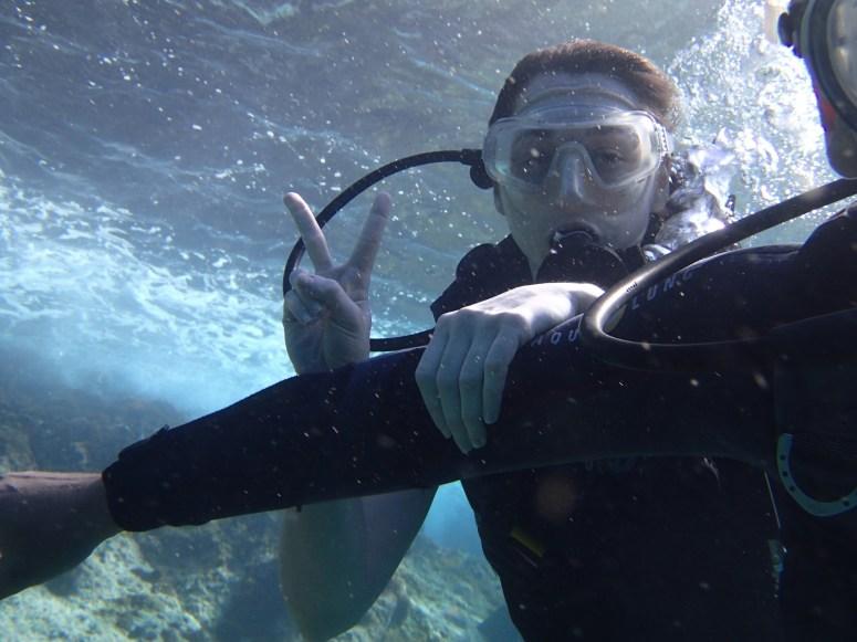 débutant sous l'eau en baptême- DSC Club de plongée Martinique