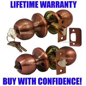 """Chronos"" Entry Antique Copper, Door Lever Lock Set Knob Handle Set - DSD Brands"