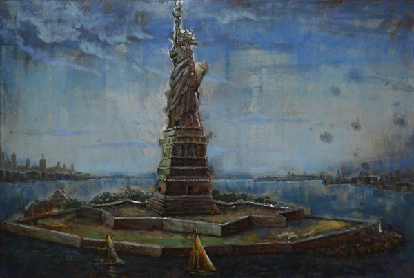 Modern Metal Art Wall Sculpture Home Decor Statue of Liberty - DSD Brands
