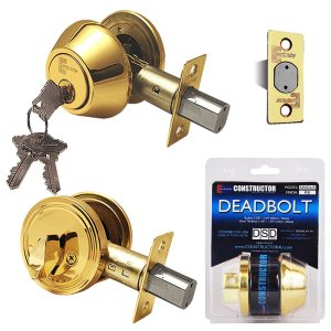 """Deadbolt"" Door Lock Set with Single Cylinder, Finish: Polished Brass - DSD Brands"