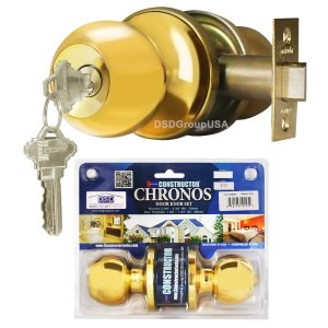 """Chronos"" Entry Polished Brass Finish, Door Lever Lock Set Knob Handle Set - DSD Brands"