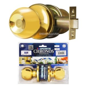 """Chronos"" Passage Polished Brass Finish, Door Lever Lock Set Knob Handle Set - DSD Brands"