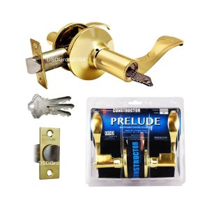 """Prelude"" KEYED ALIKE, Entry Lever Door Lock with Knob Handle Lockset, Polished Brass Finish - DSD Brands"