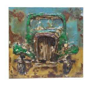 Modern Metal Art Wall Sculpture Home Decor Old Green Car - DSD Brands