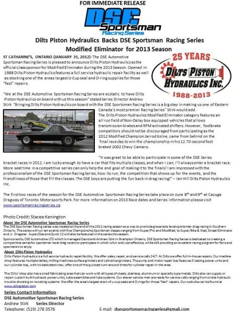 Dilts Piston Hydraulics Backs DSE Sportsman Racing Series