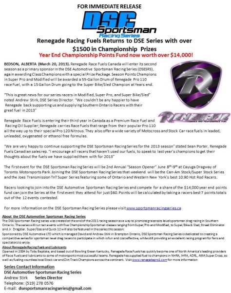 Renegade Racing Fuels Returns to DSE Series
