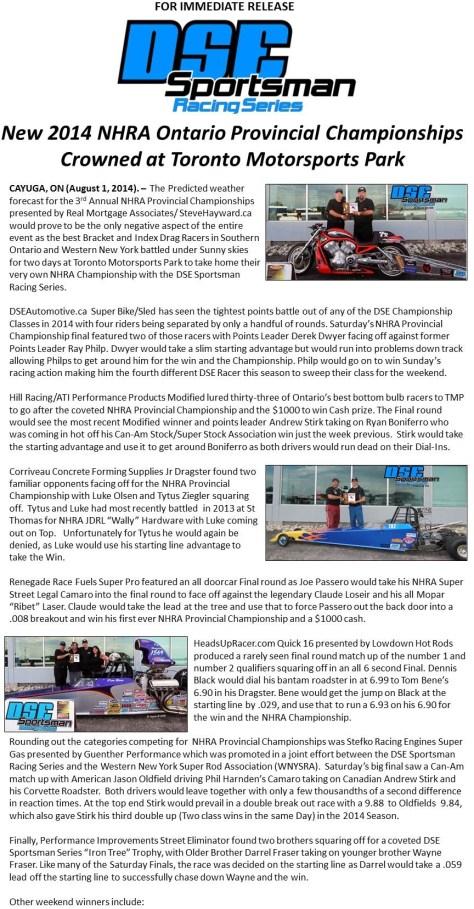 New 2014 NHRA Ontario Provincial Championships  p1