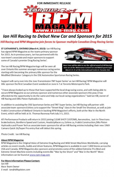 Ian Hill Racing to Debut New Car and Sponsors for 2015