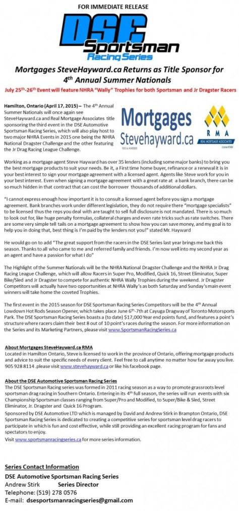 Mortgages SteveHayward.ca Returns as Title Sponsor