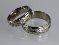 Hand Engraved Wedding Band Set - DAVID SHEEHAN ~ ENGRAVER