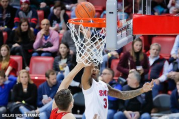 SMU guard Kendric Davis goes up for a basket during the second half of the game against Hartford on November 27, 2019 at Moody Coliseum in Dallas, Tx. (Photo by Joseph Barringhaus/Dallas Sports Fanatics)