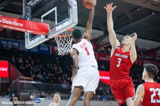 SMU forward Feron Hunt goes up for a dunk during the first half of the game between Southern Methodist University and Hartford on November 27, 2019 at Moody Coliseum in Dallas, Tx. (Photo by Joseph Barringhaus/Dallas Sports Fanatics)