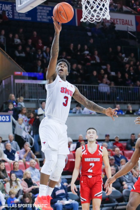 SMU guard Kendric Davis goes up for a basket during the first half of the game between Southern Methodist University and Hartford on November 27, 2019 at Moody Coliseum in Dallas, Tx. (Photo by Joseph Barringhaus/Dallas Sports Fanatics)