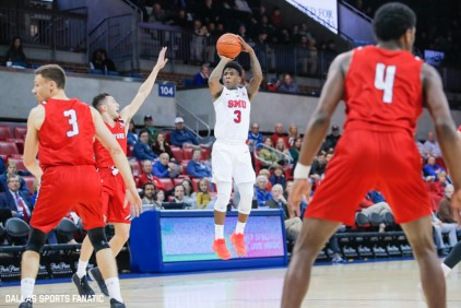 SMU sophomore Kendric Davis takes an open shot during the first half of the game between Southern Methodist University and Hartford on November 27, 2019 at Moody Coliseum in Dallas, Tx. (Photo by Joseph Barringhaus/Dallas Sports Fanatics)